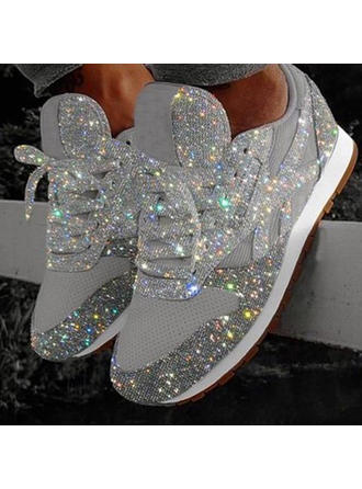 Women's PU Flat Heel Flats Low Top With Rhinestone Sparkling Glitter Lace-up shoes