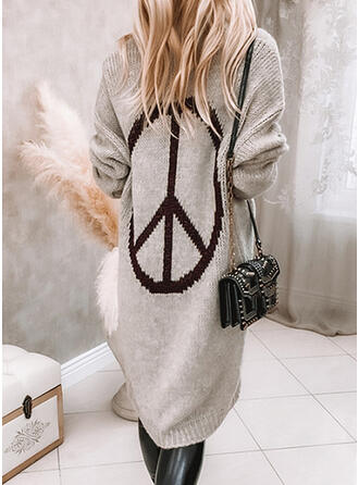 Print Knit Long Sleeves Dropped Shoulder Shift Knee Length Casual Sweater Dresses