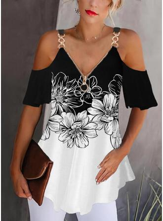 Print Color Block Floral Cold Shoulder 1/2 Sleeves Casual Blouses