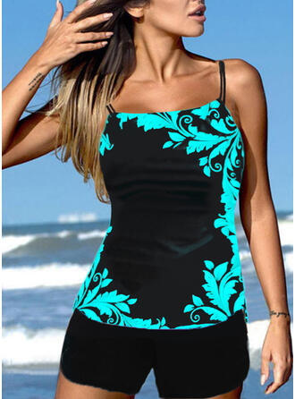 Strap U-Neck Casual Tankinis Swimsuits