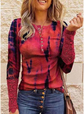 Print Lace Round Neck Long Sleeves T-shirts