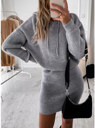 Solid Knit Long Sleeves Dropped Shoulder Bodycon Above Knee Casual Sweater Dresses