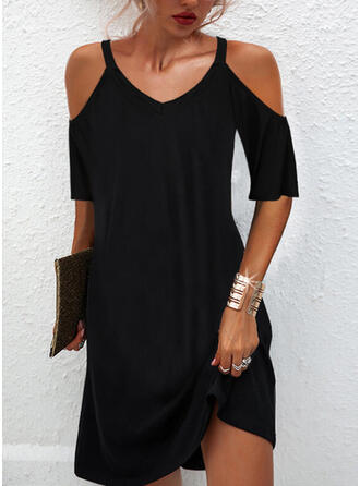 Solid 1/2 Sleeves Cold Shoulder Sleeve Shift Above Knee Little Black/Casual Tunic Dresses