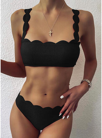 Solid Color Push Up Wave Cut Strap Sexy Vintage Bikinis Swimsuits
