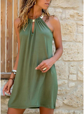 Solid Sleeveless Shift Above Knee Little Black/Casual Dresses