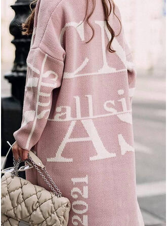 Print Letter Casual Cardigan