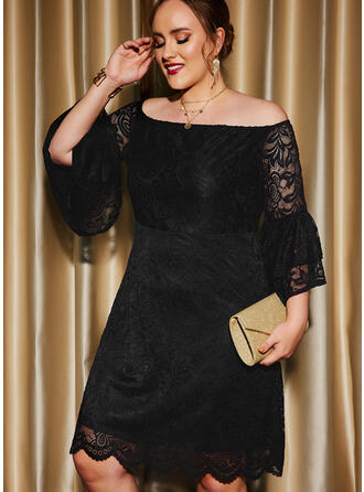 Solid Lace 3/4 Sleeves Flare Sleeve A-line Knee Length Little Black/Party/Plus Size Skater Dresses