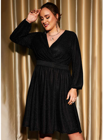 Solid Long Sleeves A-line Knee Length Little Black/Party/Plus Size Skater Dresses