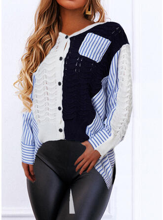 Color Block Striped V-Neck Long Sleeves Casual Blouses