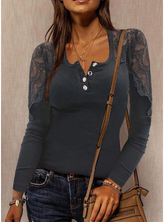 Solid Lace Square Collar Long Sleeves T-shirts