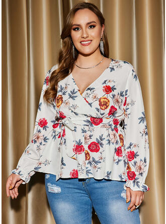 Print Floral V-Neck Long Sleeves Plus Size Party Blouses