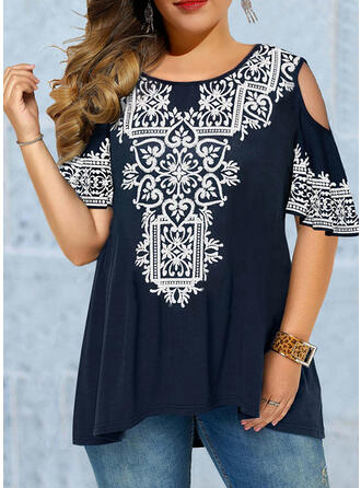 Lace Cold Shoulder 1/2 Sleeves Flare Sleeve Casual Blouses