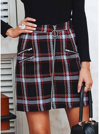 Plaid Above Knee Casual