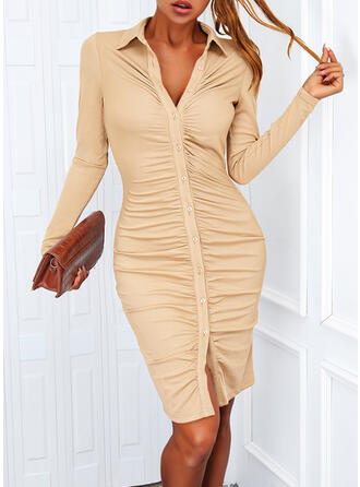 Solid Long Sleeves Bodycon Above Knee Casual Shirt Dresses