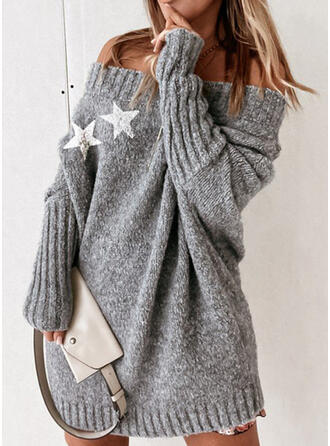 Print Knit Long Sleeves Dropped Shoulder Shift Above Knee Casual Sweater Dresses
