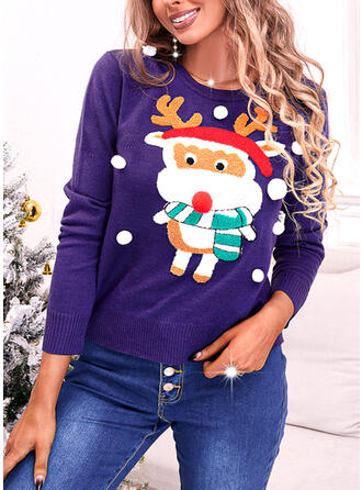 Christmas Print Reindeer Round Neck Casual Sweaters