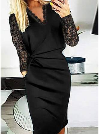 Solid Lace Long Sleeves Bodycon Knee Length Little Black/Elegant Pencil Dresses