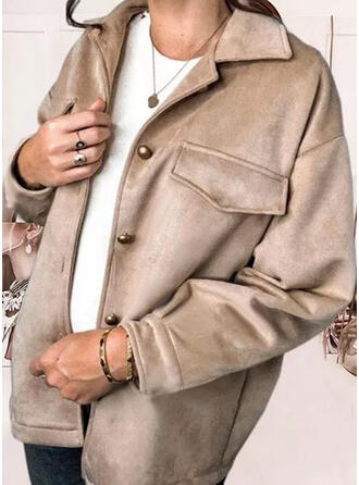 Long Sleeves Solid Blend Coats