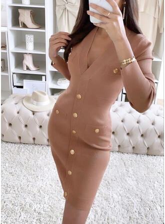 Solid Knit Long Sleeves Bodycon Above Knee Casual Dresses