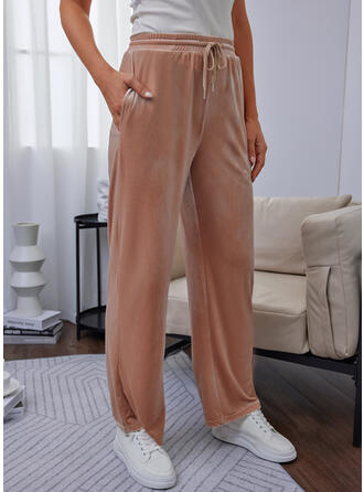 Solid Long Casual Sporty Drawstring Pants