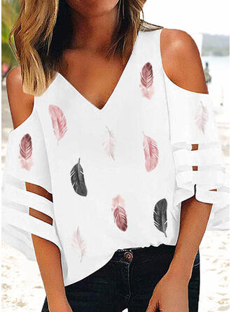 Print Feather Cold Shoulder 3/4 Sleeves Casual Blouses