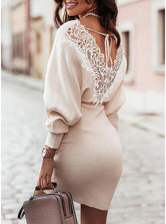 Solid Lace/Knit Long Sleeves Lantern Sleeve Bodycon Above Knee Elegant Sweater Dresses