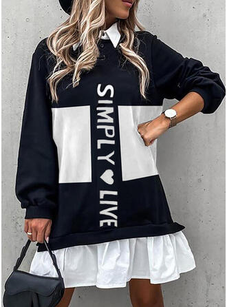 Print/Color Block/Heart/Letter Long Sleeves Shift Above Knee Casual Tunic Dresses