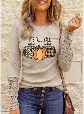 Print Letter Lace Round Neck Long Sleeves Casual Blouses