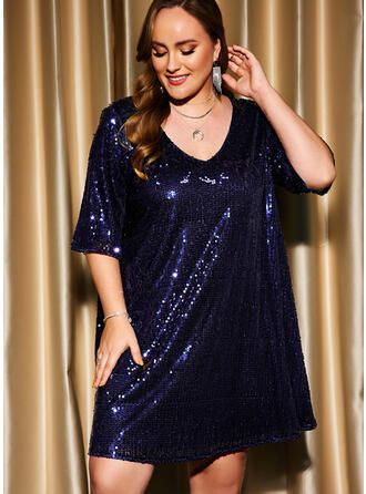Solid 1/2 Sleeves Shift Above Knee Party/Plus Size Dresses